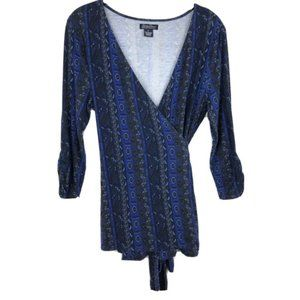 Lucky Brand Wrap Tie Blouse Blue